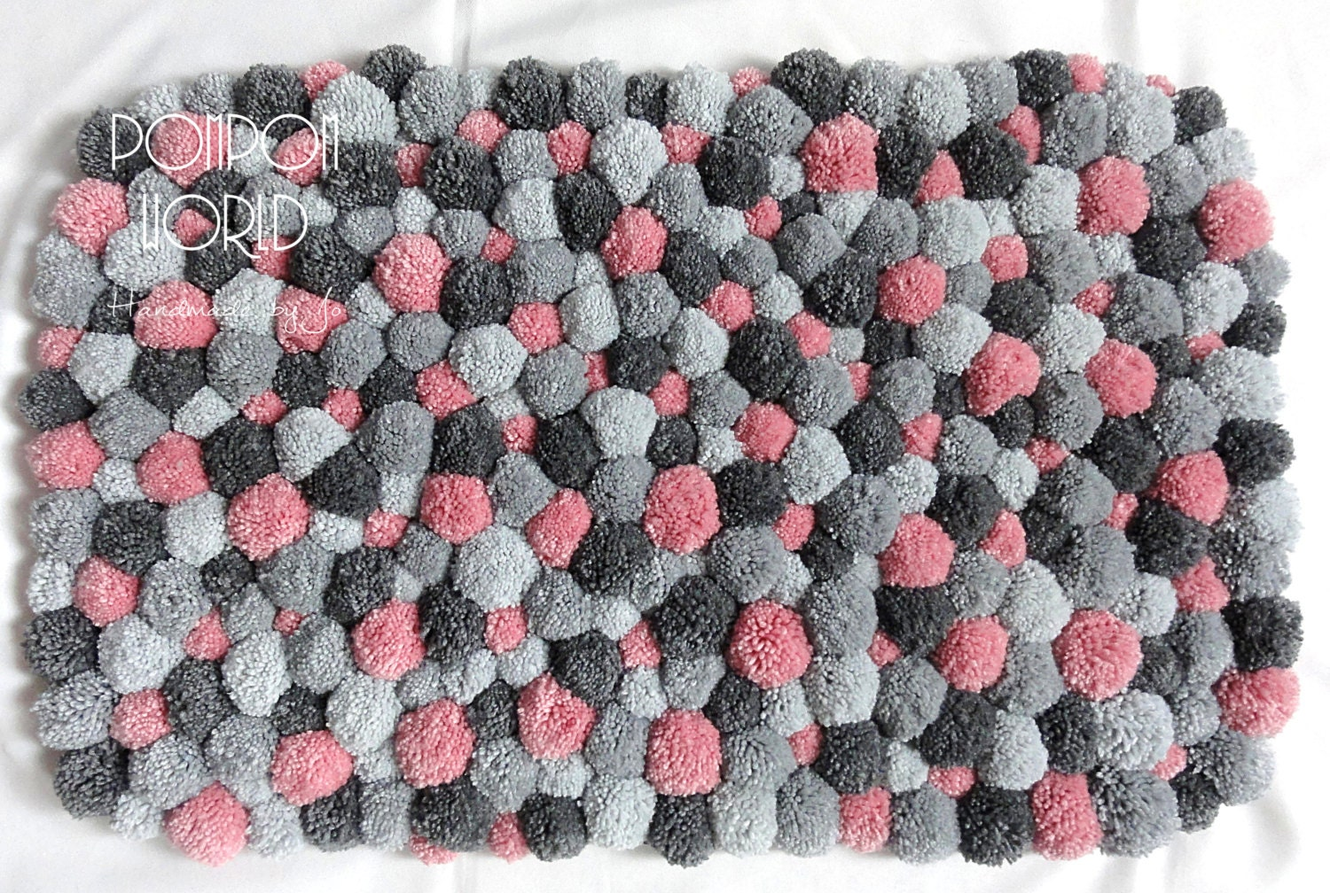 Bedroom Area Rug Pom Pink Gray By