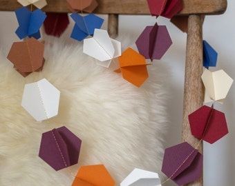 Cardstock paper Garland form HEXAGONS double color brown/orange/blue/violet