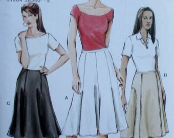 Vogue pattern, new, misses loose fitting and flared skirt, size 12, 14, 16