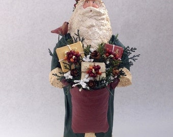 Primitive Folk Art Father Christmas Santa OOAK Green with gifts