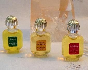 De Rauch, Vacarme, Miss de Rauch, Belle de Rauch, 3 x 7ml. or 0.24 oz. Flacons, Pure Parfum Extrait, 1968, Paris, France ..