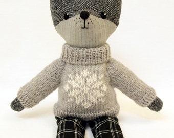 Grey Wolf, Plush Toy, Wool Tweed, Interior toy, Woodland Stuffed Animal Doll.