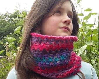 Crochet Infinity Scarf, Hand Made Cowl, Knitted Snood, Crochet Cowl, Circular Scarf, Crochet Neck Warmer