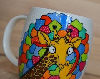 Funny mug Giraffe mug Coffee mug for him Birthday gift Handpainted mug Cute coffee mug Personalized mug Ceramic mug Funny giraffe custom mug