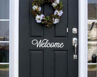 Welcome Front Door Vinyl Decal Sticker Sign Welcome Vinyl Decal
