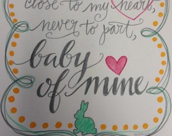 Nursery Decor print - hand sketch, Baby of Mine