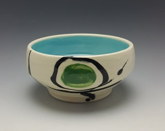 "Handmade ceramic bowl by Potteryi. One of Korean words on pottery collection. Soup bowl with 비우다, Korean for ""to empty""."