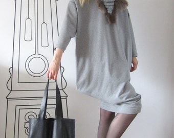 FREE SHIPPING / Leather tote bag / Large tote bag / Black tote bag by FabraModaStudio / A901