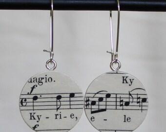 "Bach B-minor Mass ""Kyrie"" Soprano 2 Handmade Recycled Paper Earrings"