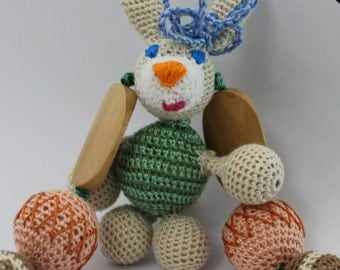 Crochet organic cotton Nursing necklace romantic teething necklace .