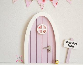 Fairy door lilac with personalised signpost  - tooth fairy pretend play magical fairies girls gift girls room dummy fairy