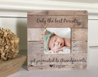 Grandparents Frame Grandmother Grandfather  Personalized Custom Picture Frame  Gift Only the Best Parents Get promoted to Grandparents