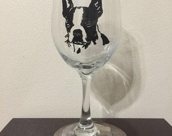 Boston Terrier Wine Glass or Pilsner Glass