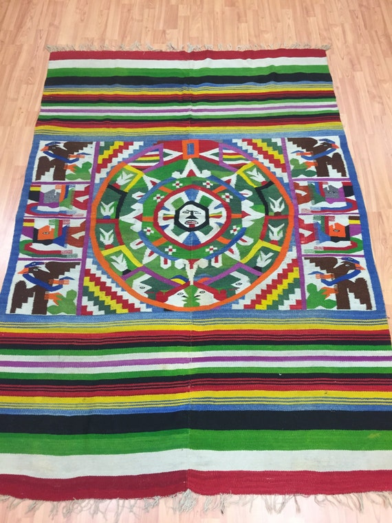 "4'8"" x 6'8"" Native American Navajo Flat Weave Rug - 1960s - Hand Made - 100% Wool"