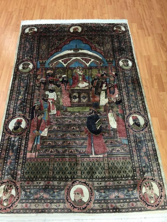"4' x 6'6"" Persian Tabriz Moharajah Design Oriental Rug - Hand Made - Wool & Silk"