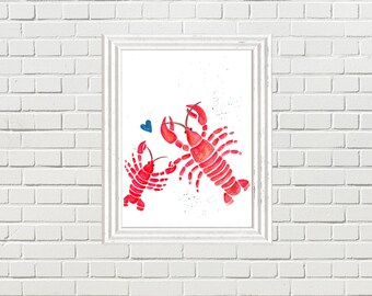 Nautical Lobster and baby Watercolour Print- Babywearing, ocean, sea, beach decor, nautical art