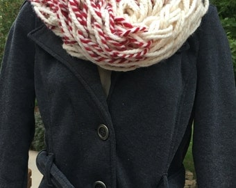 Red and Cream Colored Striped Handmade Infinity Scarf