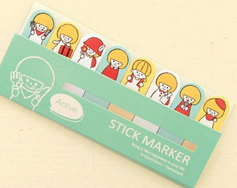 Cute Cartoon Girl Sticky Notes / Active Stick Marker / Cute Sticky Notes / Kawaii Sticky Notes / Post-It / Cute Animal Sticky Notes Tabs