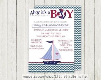 Nautical Baby Shower Invitation, Printable Baby Shower Invitation, Digital Baby Shower Invitation, Custom Baby Shower Invitation