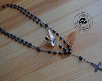 Collier chapelet os vintage