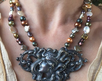 Victoria - Vintage Art Deco Belt Buckle Upcycled as Necklace on Pearls