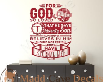 John 3:16 For God So Loved The World Vinyl Wall Decal Quote Scripture