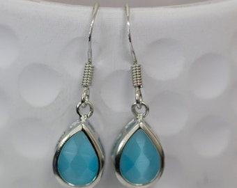 Sterling Silver and Tear Drop Earrings, Blue Earrings, Blue Drop Earrings