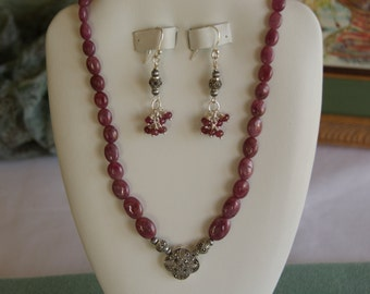 Ruby Necklace with Antique Silver Pendant  -   #427