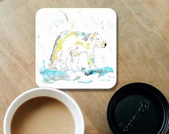 Polar bear coaster, wooden coaster, Polar bear gift, table coaster, drink coaster, tile coaster, coaster, polar bear, home decor