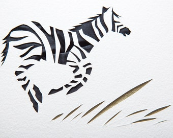 Baby zebra handmade papercut picture // personalized baby gift - nursery wall art - nursery decor - safari animals - new baby gift