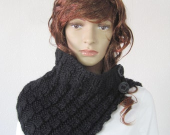 Handmade knitted black scarf with buttons