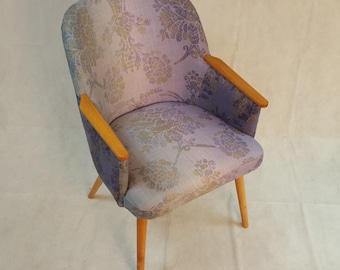 50's - 60's Office / Lounge Chair Re-upholstered in Designers Guild Sukumala Thistle