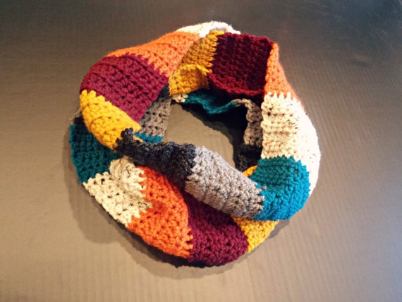 Crochet infinity scarf in bright fall stripes