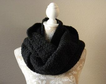 Black Heather Infinity Scarf Crocheted