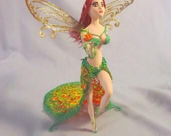 OOAK Elf figurine Elf statuette Colorful Elf Winged Fairy Winged Elf Unique Cake topper Cake decoration Original cake decor Fantasy woman