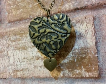 Double heart antiqued brass necklace