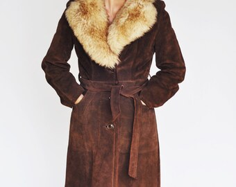 Kirk's Life Suede Coat with Fur Collar