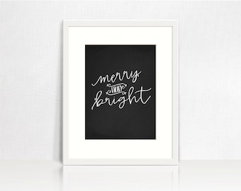 Merry and Bright Chalkboard Printable - Holiday Chalkboard Printable Art - Christmas Chalkboard Printable - Christmas Decor Print - Download