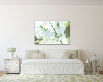 Large canvas with white flowers, green white canvas, floral bedroom art, green and white canvas, flower photograph, summer art, Flower decor