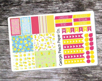 Pink Lemonade Themed Planner Stickers - Made to fit Vertical Layout