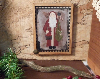 """Magnet: Christmas Unique Primitive Rustic 3"""" by 4"""" Framed Magnet/Wall Hanging /Ornament Teams  FAAP OFG  WRR"""