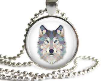 Wolf Necklace, Grey Wolf Pendant, Picture Pendant, Wolf Jewelry, Glass Art Pendant, Call of the Wild