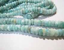 "Larimar Dominican Republic Blue Faceted stone bead rondelles strands 16"" Gemstone 5mm Semi precious stones loose Jewelry Healing necklace"