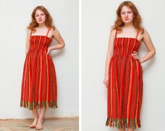 Vintage Woven Wool Dress/Elastic Waist/Fringed Hem/Beautiful striped pattern