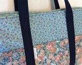 Blue Purse, Blue Tote, Long Handled Purse, Shoulder Bag, Boy Diaper Bag, Quilted Purse, Magnetic Snap, Closure, Handmade Purse