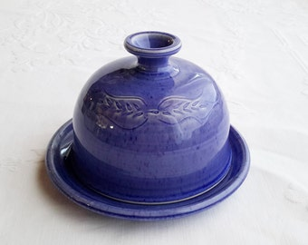 round ceramic butter dish with lid, handmade butter dish, blue pottery butter dish, unique butter dish, butter dish with dome