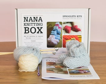 Nana Knitting Kit Gift - with Nana knitting needles / New baby gift / Learn to knit / Easy baby booties knitting kit / Baby announcement