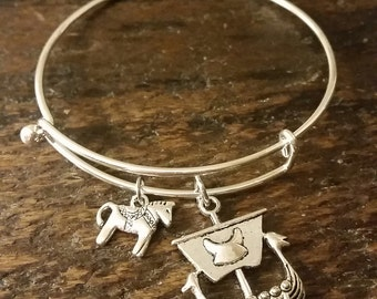 Swedish Dala Horse and Viking Ship Bangle Bracelet