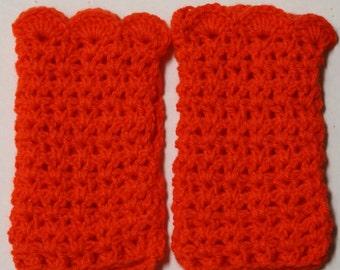 Fingerless gloves orange