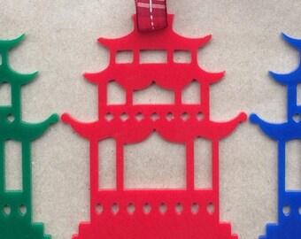 Acrylic chinoiserie Christmas ornaments Red Pagoda